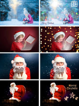 Load image into Gallery viewer, 110 Christmas set overlays, backdrops, snow, lights, snowflake, fireworks, wordart, santa, magic lightg, glitter, winter, holiday, new year