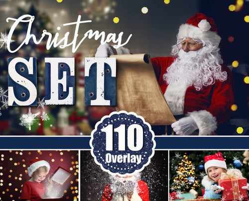 110 Christmas set overlays, backdrops, snow, lights, snowflake, fireworks, wordart, santa, magic lightg, glitter, winter, holiday, new year