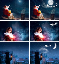 Load image into Gallery viewer, Santa flying over the moon, window overlay, Photoshop overlays, Christmas background, fairy lights, Waiting For Santa, Sanra deer, png
