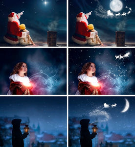Santa flying over the moon, window overlay, Photoshop overlays, Christmas background, fairy lights, Waiting For Santa, Sanra deer, png