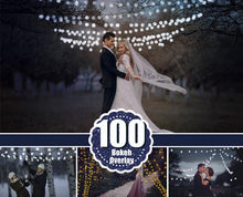 Load image into Gallery viewer, 100 gold silver shine bokeh, Photoshop Overlays, Christmas magic shine light, wedding, sparkles star, heart bokeh, png file