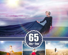 Load image into Gallery viewer, 65 Sky Cloud Sun Light Overlays, digital background, digital backgdrop, natural sky skies sun, Photoshop Overlays, png file