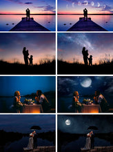 Load image into Gallery viewer, 55 night moon sky Photoshop Overlays, beautiful dark starry realistic nature skies, clouds effect, northern lights, digital backdrop, jpg
