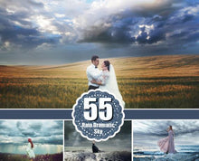 Load image into Gallery viewer, 55 Dramatic sky Overlays, Beautiful sky, Cloud Overlays, rain dark realistic nature sky, skies overlay, Photoshop Overlays jpg file