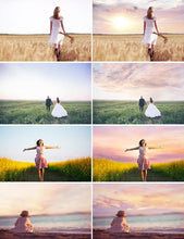 Load image into Gallery viewer, 35 sunset dreamy romantic pastel sky, skies cloud overlay, realistic beach sky, Photoshop Overlays, digital bacdrop, jpg file