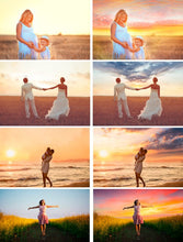 Load image into Gallery viewer, 55 sunset sky, skies overlay, beach, realistic, romantic, english, pastel Sky, Photoshop Overlays, Gold Collection cloud, jpg