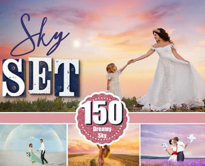 150 Sky Cloud Overlays, Digital backdrop, Photoshop Overlay, sunset, dramatic, realistic, nature, bundle, romantic dreamy night star