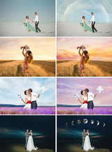 Load image into Gallery viewer, 150 Sky Cloud Overlays, Digital backdrop, Photoshop Overlay, sunset, dramatic, realistic, nature, bundle, romantic dreamy night star