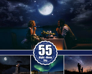 55 night moon sky Photoshop Overlays, beautiful dark starry realistic nature skies, clouds effect, northern lights, digital backdrop, jpg