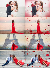 Load image into Gallery viewer, 110 Flower petals Photo Overlays, Photoshop Overlay, wedding, Valentine's Day, romantic, summer, digital backdrop background, rose, png file