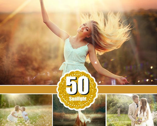 50 natural sun light effects, Photoshop Overlays, sunlight, sun lens, sun rays, sunlight rays, Digital Backdrop background, jpg png file
