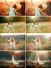 Load image into Gallery viewer, 50 natural sun light effects, Photoshop Overlays, sunlight, sun lens, sun rays, sunlight rays, Digital Backdrop background, jpg png file