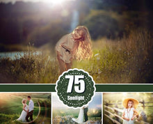 Load image into Gallery viewer, 75 Natural sun light Photoshop Overlays, Sunlight bokeh, Sun Rays, Sun Lens, Sun beams, Light Leak, light effect, digital backdrop, jpg file