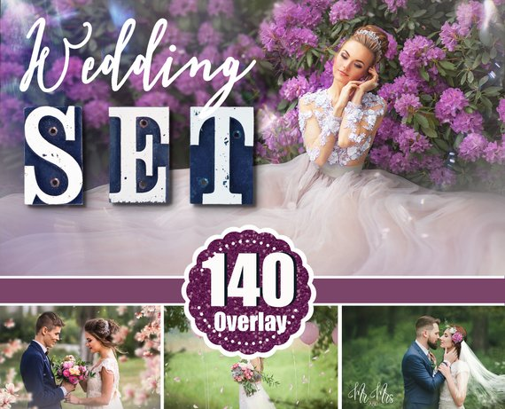 140 Wedding set, Photoshop overlay, flower branch, bokeh, sky, fabric, petals, sparklers, lace, veil, art text, digital backdrop, png file