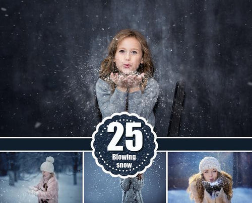 25 Blowing Snow photo Overlays, christmas holiday winter overlays, photoshop overlays, snow photo, photoshop overlay, png