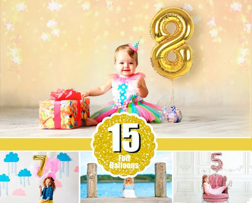 15 Foil Number Balloons, Photoshop Overlays, Gold, Silver, digital backdrop, Balloon, Birthday, holiday, photo overlay, clipart, png file