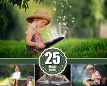 Load image into Gallery viewer, 25 magic shine book present Photoshop Overlays, Fantasy christmas Photo overlays, shine sparkles photo effect, magic pixie dust effect, png