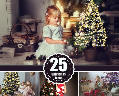 25 Christmas Trees Lights, Gold Bokeh, Photo overlays, Photoshop overlay, Holiday New Year Winter Light, Digital background, JPG file