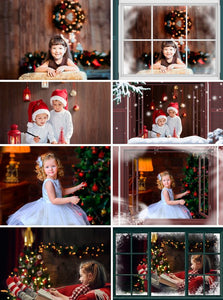 35 Window Frame, rustic frames, Christmas, Photoshop overlays, winter, snow, Digital Background, Digital Backdrop, png file