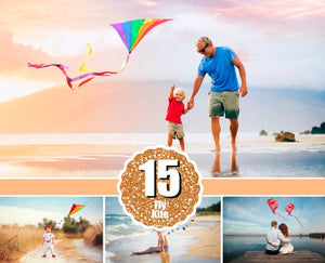 15 Flying fly kite, Photoshop Mix overlay, Digital backdrop, air balloon, holliday children birthday love valentine photo session, heart, png