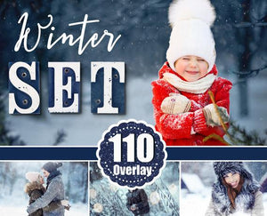 110 Winter set Photoshop Overlays, Wonderland effect, Realistic Snow, Christmas сollection, Snow, Light, Bokeh, fog, fram, deer