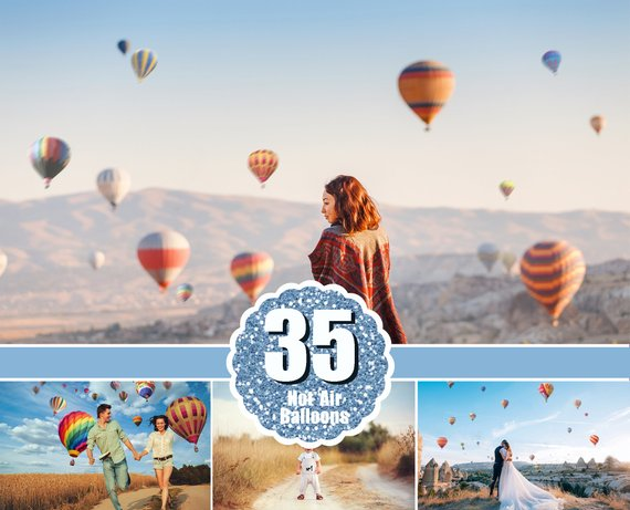35 hot air balloon Photo Overlays, aerostat, Photography Overlays, Photoshop overlay, balloon clip art, clipart, Digital backdrop, png file