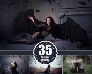35 Black Feather Overlays, photoshop overlays, Angel, Feather, Photo Overlays, Flying Feathers, digital backdrop, clipart, png