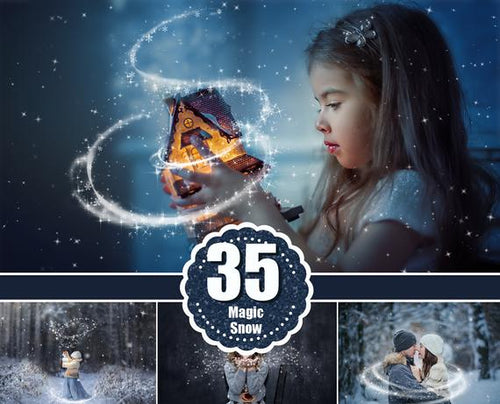 35 Magic snow snowflakes overlays, Christmas overlays, digital backdrop, winter, Photoshop Overlays, star, real snow, shine, png file