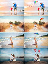 Load image into Gallery viewer, 15 Flying fly kite, Photoshop Mix overlay, Digital backdrop, air balloon, holliday children birthday love valentine photo session, heart, png