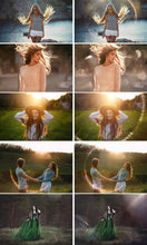Load image into Gallery viewer, 35 Sun flare, Sunlight, Photoshop overlays, sunbeams, natural sun, photo effects, Haze Overlay, wedding, bokeh, rays, jpg
