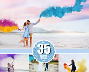 35 Smoke Bomb Overlays, Colorful Smoke fog, photo overlays, Photoshop overlay, clip art, realistic, real, magic, colorscape, png