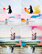 Load image into Gallery viewer, 35 Smoke Bomb Overlays, Colorful Smoke fog, photo overlays, Photoshop overlay, clip art, realistic, real, magic, colorscape, png
