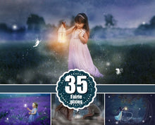 Load image into Gallery viewer, 35 fairy pixie photo overlays, fairy dust, fairy tail, fairy wings, light effects, pixie dust, princess, Photoshop overlay, png file
