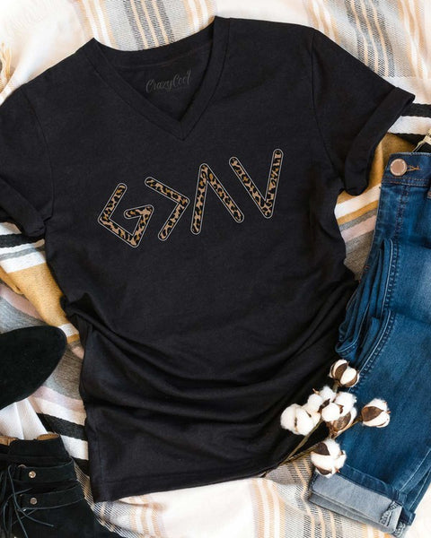 God's Greater Than Highs and Lows V-neck Graphic Tee - Black Heather