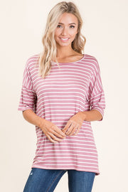 Casual Dropped Short Sleeve Striped Top - Mauve Ivory