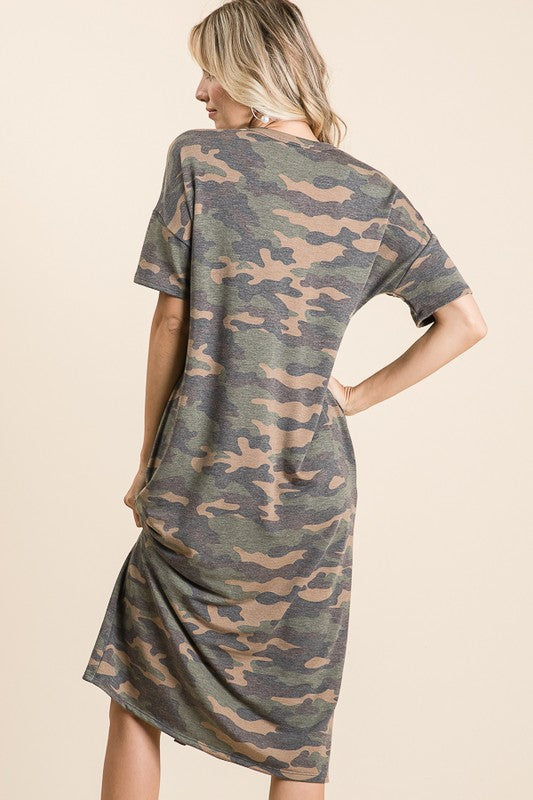 Faux Button V-Neck Camo Midi Dress - Green Camo