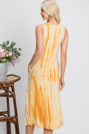 Relaxed Fit Tie Dye Midi Dress - Mustard Mix
