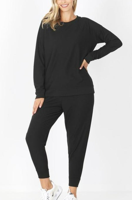 French Terry Top & Jogger Pants Set - Black