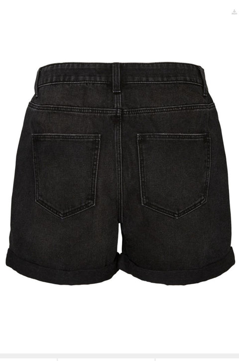 Noisy May Smiley Distressed Denim Shorts - Black