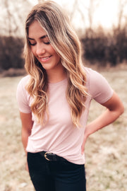 Basic Modal Crew Neck Side Slit Top - Dusty Pink