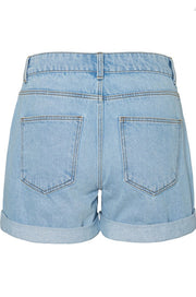 Noisy May Smiley Distressed Denim Shorts - Light Blue