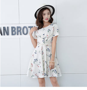 *DJ* Virose Sleeve Floral Cross Waist Dress