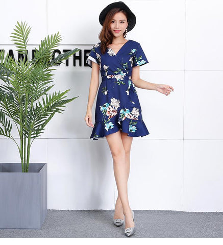 *DJ* Carra Ruffles V-Neck Wrap Floral Dress