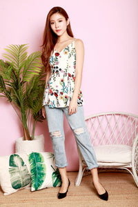 *DJ* Pilla Floral Pleated Peplum Top