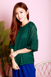 *DJ*  Camly Lace Sleeve Top