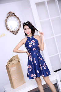 *DJ* Floral Printed Tie-Waist Dress