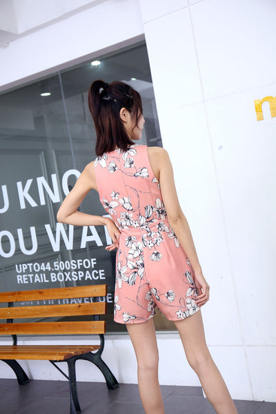 *DJ* Xira Waist Cut Out Floral Romper