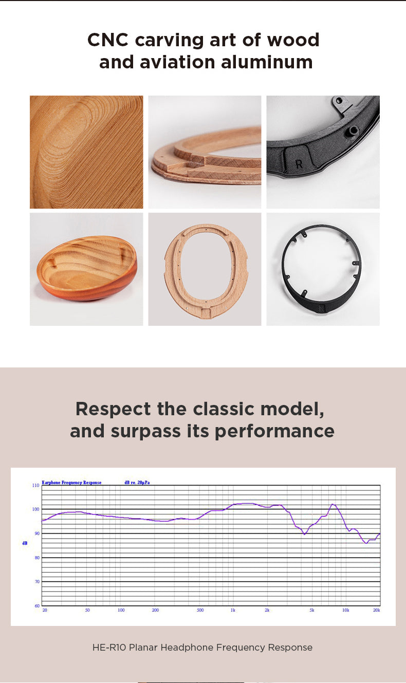 Header: CNC carving art of wood and aviation aluminum. Images. Header: Respect the classic model, and surpass its performance. Graph. Caption: HE-R10 Planar Headphone Frequency Response