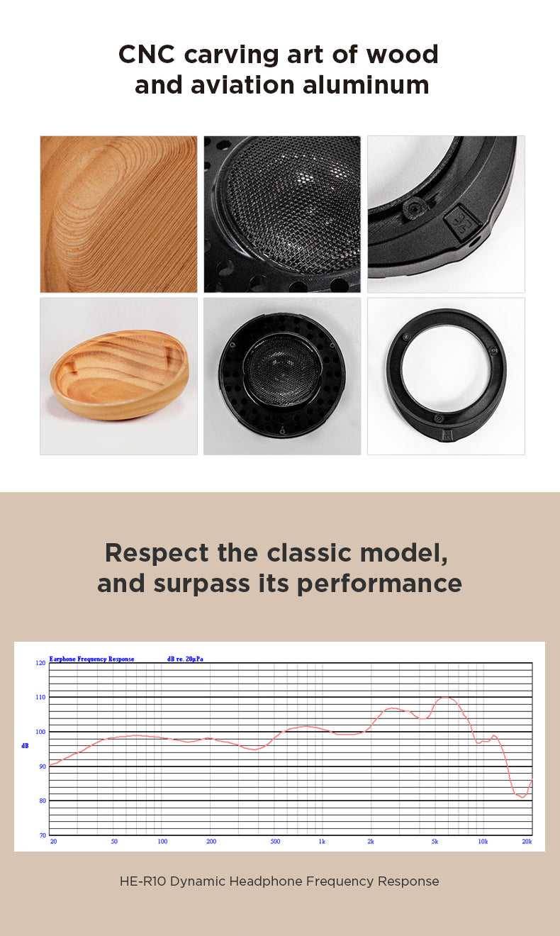 Header: CNC carving art of wood and aviation aluminum. Images. Header: Respect the classic model, and surpass its performance. Graph. Caption: HE-R10 Dynamic Headphone Frequency Response