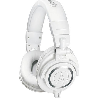 Audio-Technica ATH-M50x Monitor Headphones (White)with FREE ATH-COR150LG